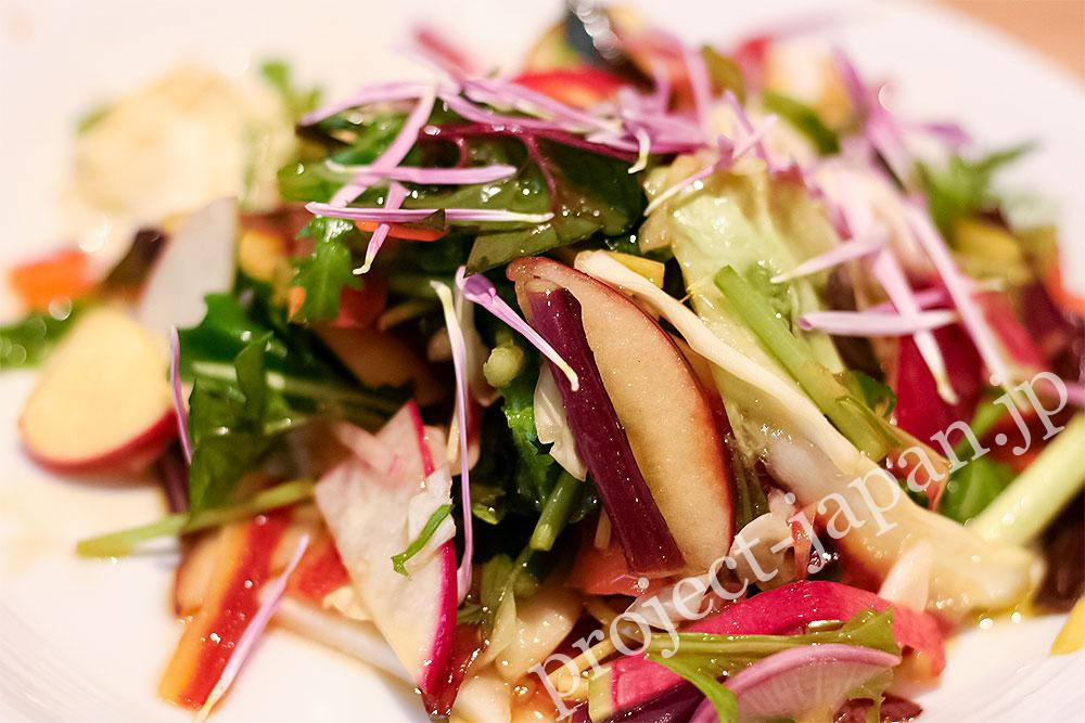 Early winter vegetable salad with Shinshu-apples