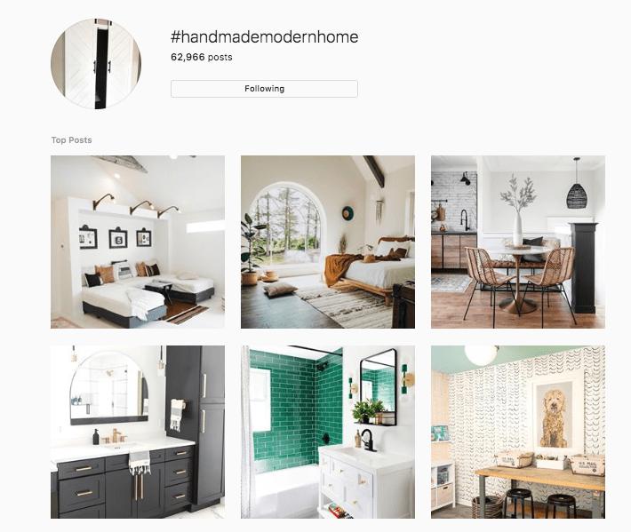 screenshot of #handmademodernhome on instagram