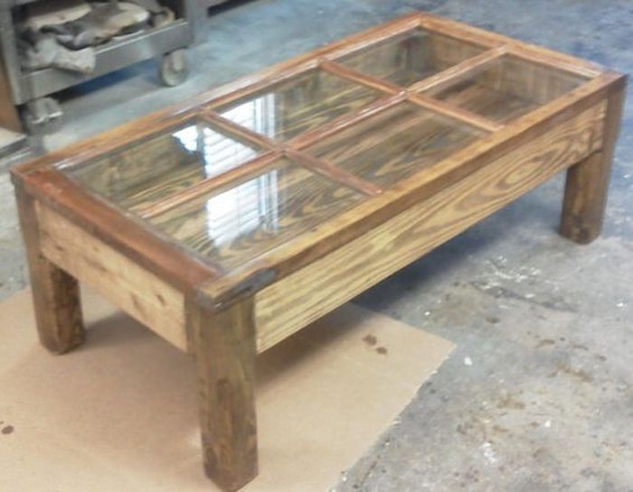turn an old window into a coffee table