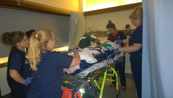 Steve being transferred to Royal Perth Spinal Trauma Unit