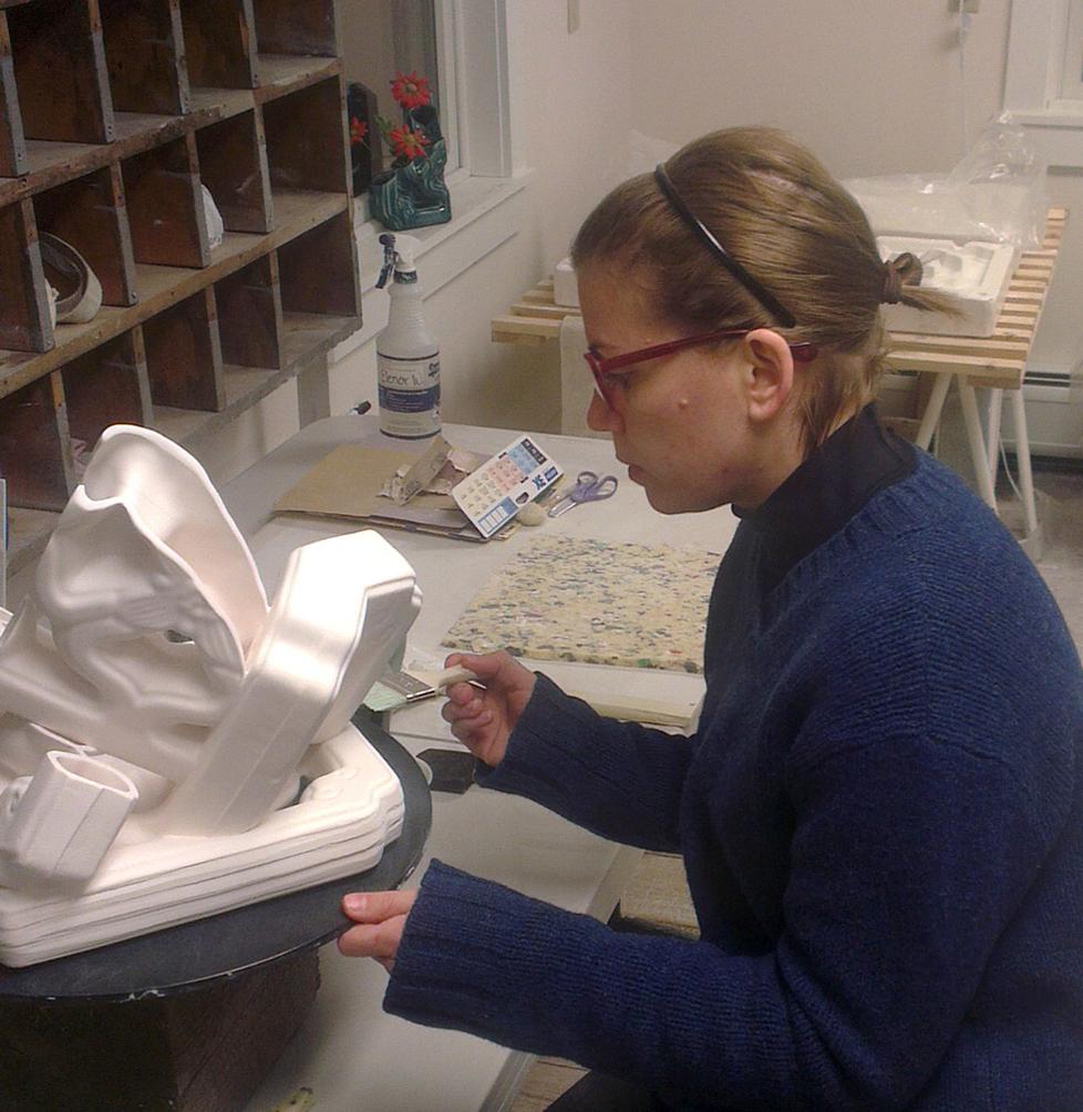 Elenor Wilson at work in Project Art ceramic studio.