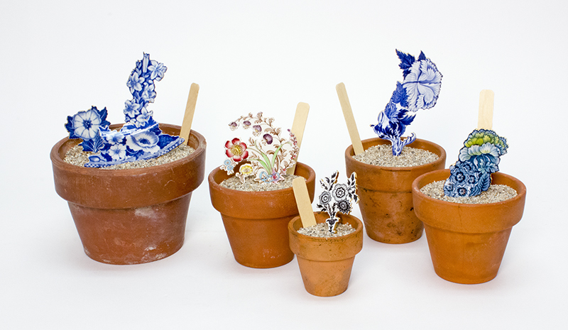 Scott's Cumbrian Blue(s) Flower Pots, Paul Scott, Cut detail from transferware plates with gold lustre, coarse sand and gravel in terracotta pots, 2016