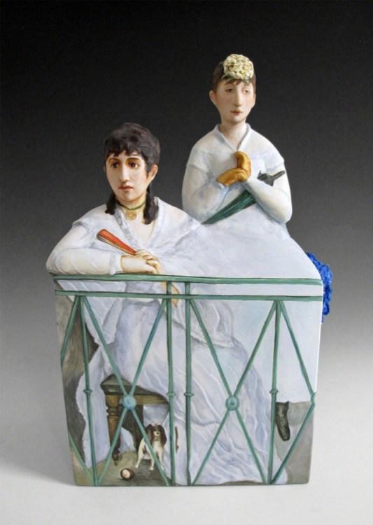 The Balcony,Kadri Pärnamets, porcelain, slip, glaze, 2015