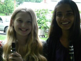 Akshita and Emma warm up for Project Bassoon's second concert!