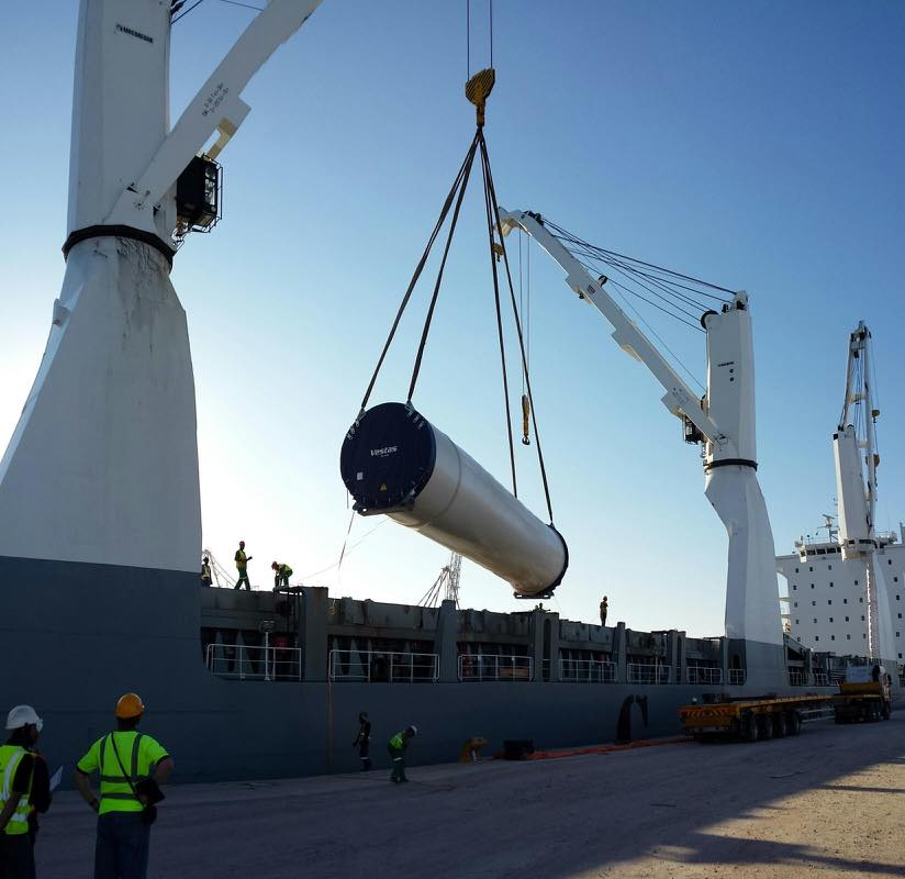 Wind turbine being discharged in Coega, South Africa