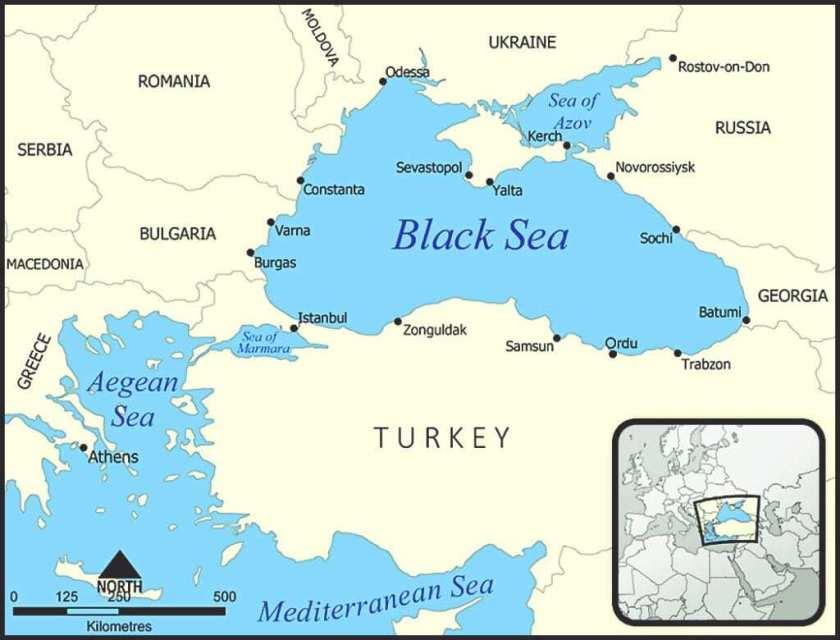 Map of the Black Sea region