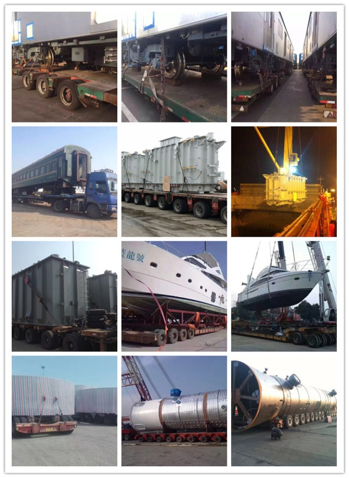 A series of photos of various cargo trasnports.