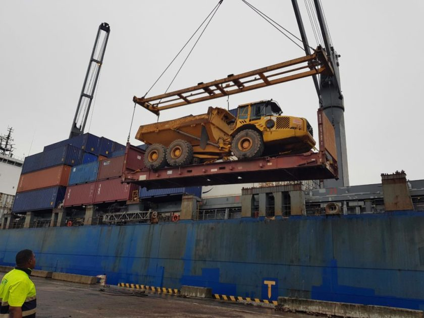 Loading a truck onto a ship
