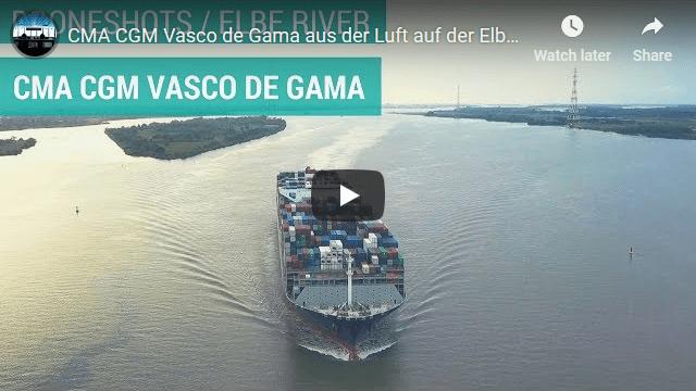 CMA CGM Vasco de Gama aus der Luft auf der Elbe (4K)