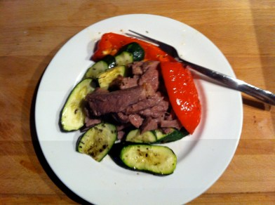 Simple beef with grilled courgettes and peppers