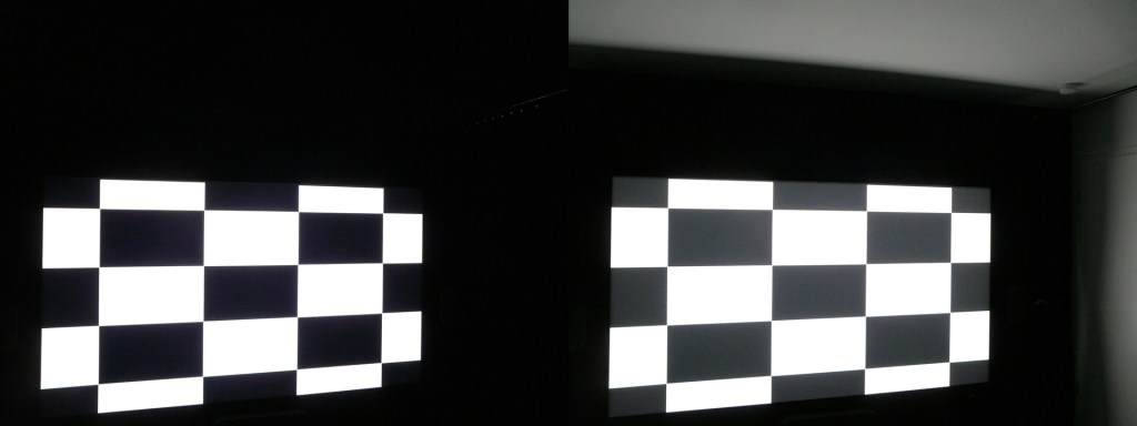 ANSI contrast Epson EH-TW9200 living room vs optimized room