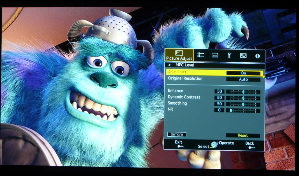 JVC X500 Sharpness Monsters Inc e-shift on