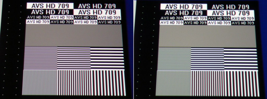 JVC DLA-X5000 Sharpness lines e-shift off-on