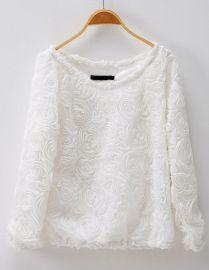 White Rosette Sweater