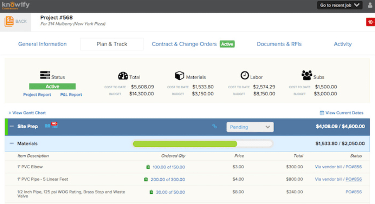 Knowify Project Cost Software Screenshots