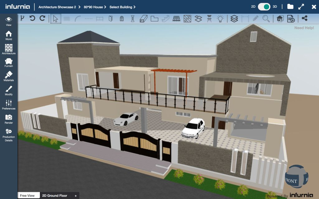 Screenshot of Infurnia Building Information Modeling Software