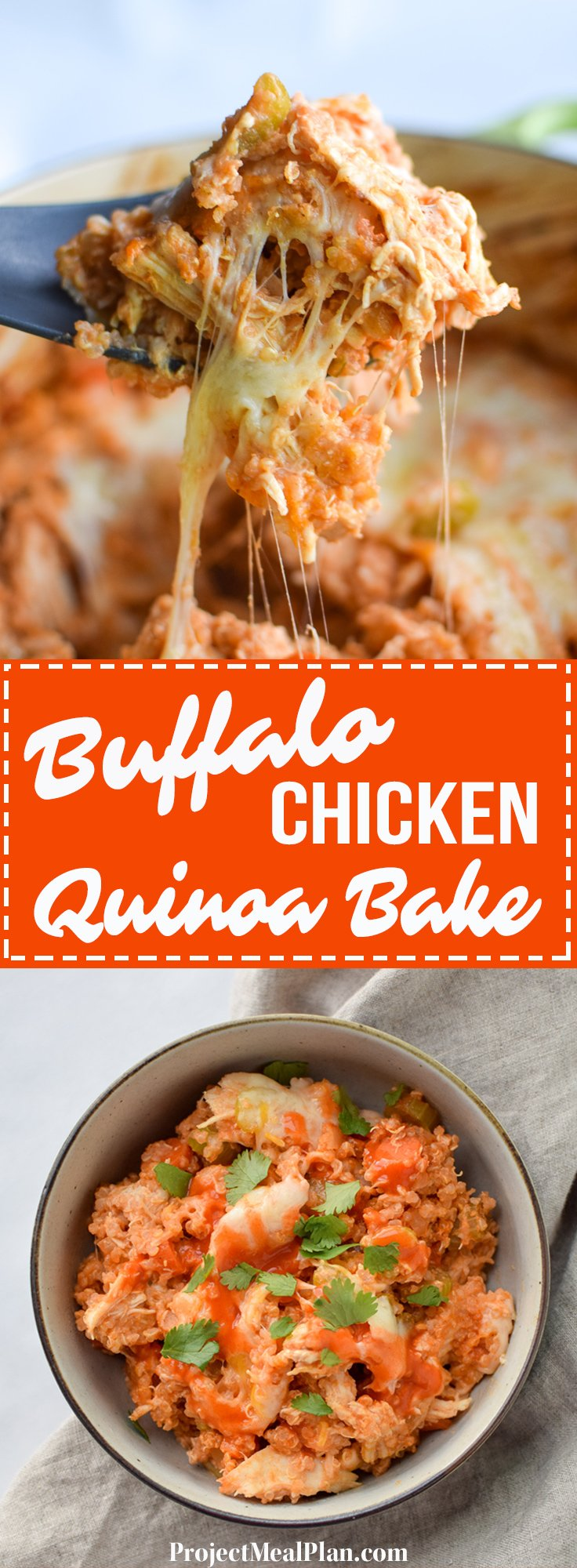 Buffalo Chicken Quinoa Bake recipe - All the best flavors of buffalo chicken, baked to perfection with veggies and quinoa! - ProjectMealPlan.com