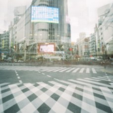 Accidental double exposure of the famous Shibuya Crossing