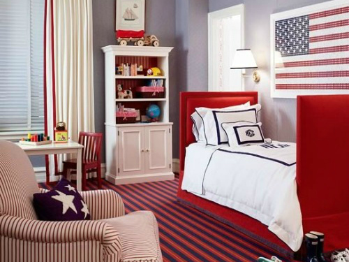 red white and blue toddler rooms