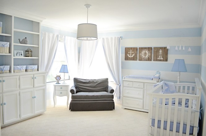 Baby Nursery Nautical Room Ideas Sailor Blue And White Wall Round Chandelier Black Varnished Wood Bedding