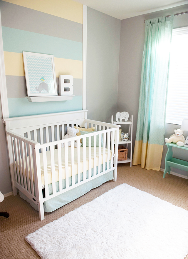 Cool Image Of Baby Nursery Room Decoration Using Ivory Yellow Wall Paint Including Pleated
