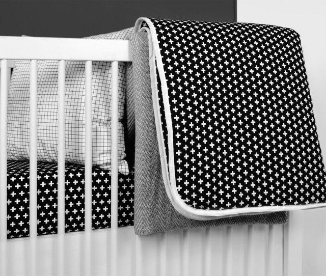 Black Cross Crib Bedding Set From Ollilime