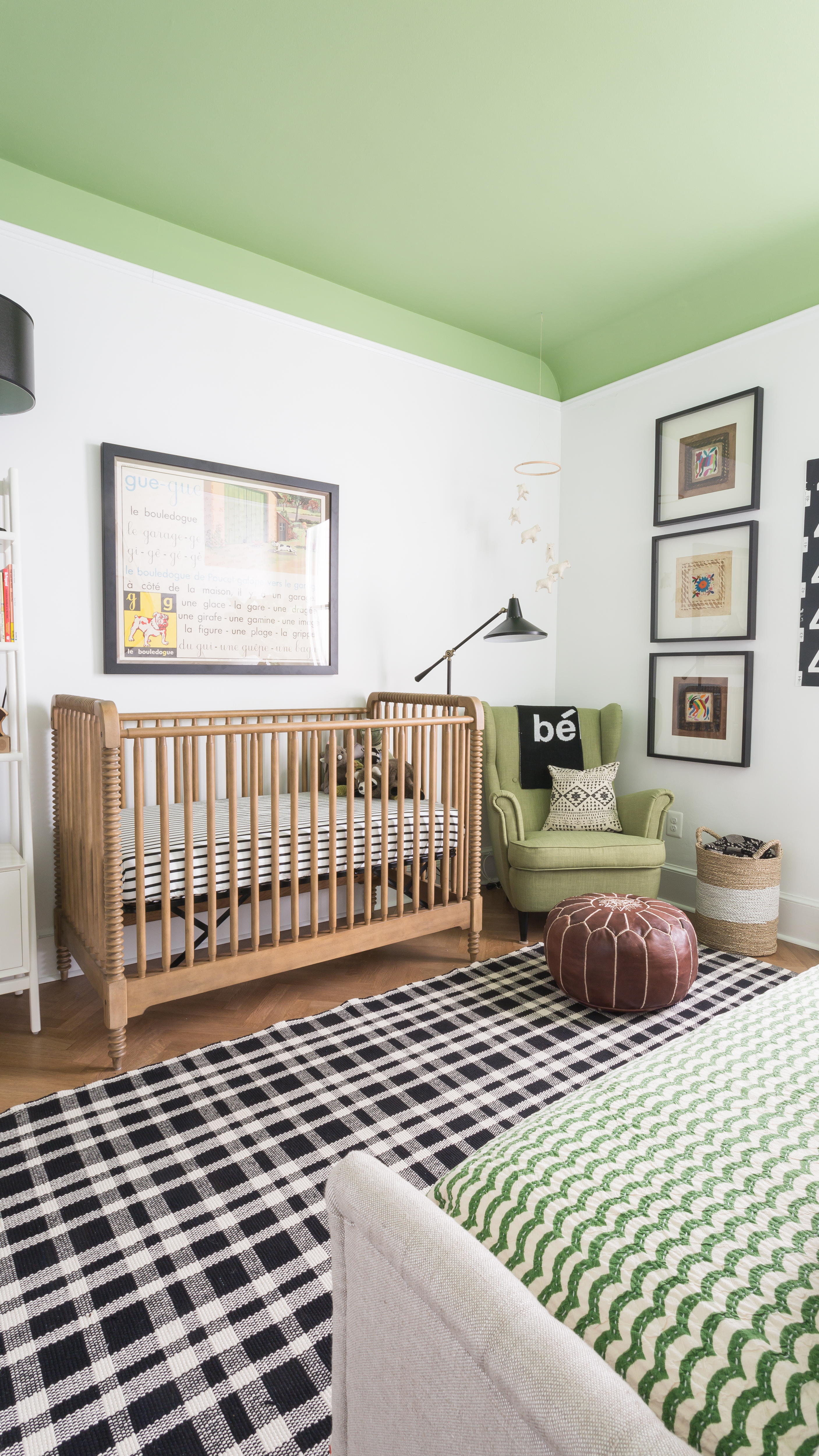Modern Black and White Nursery with Pops of Green