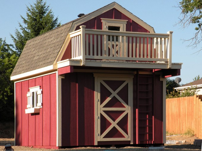 Sellersville Shed With Loft Plan 002D 4514   House Plans and More Storage shed with playhouse loft has an outdoor ladder that leads to a  second story balcony