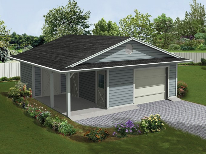 Jaceycrest Garage With Porch Plan 107D 6004   House Plans and More One car garage has a covered porch and extra storage