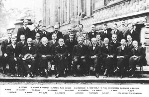 Attendees to the Fifth Solvay International Conference, held in 1927. Attendees' names are visible along the bottom of the picture. (Photo: Wikimedia Commons)