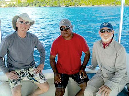 bentprop crew on dive boat . Flip, Joe, and Pat
