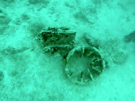 wheel and wreck debri found by bentprop in palau