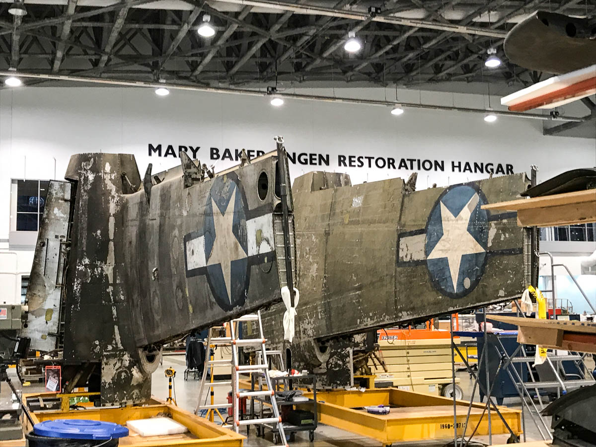 national air and space museum b 26 bomber project recover Boeing B -17 Flying Fortress bent prop visits air and space museum b 26 bomber flak bait wings on