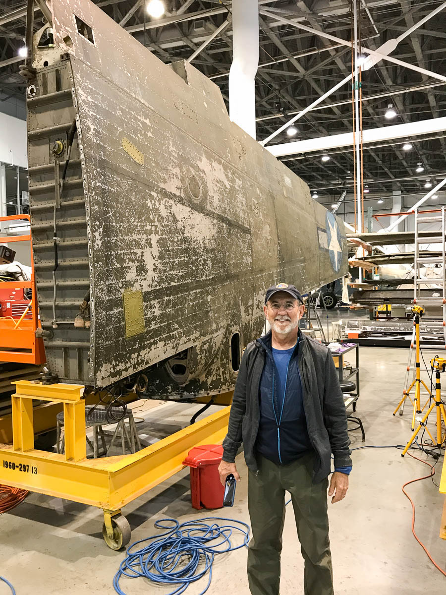 Bent prop visits air and space museum b-26 bomber flak bait - Pat Scannon standing with wing