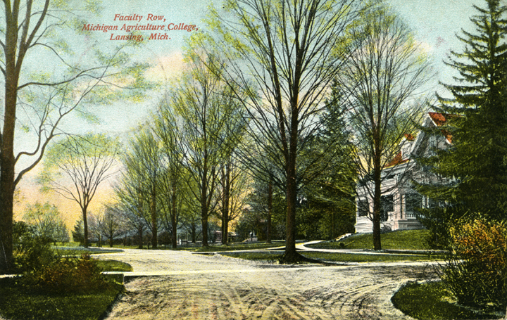Post card depicting a house of Faculty Row, dated 1908. During her first year at M.A.C. Myrtle Craig boarded with Mr. Addison M. Brown at House 10 on Faculty Row. Image courtesy of MSU Archives and Collections.