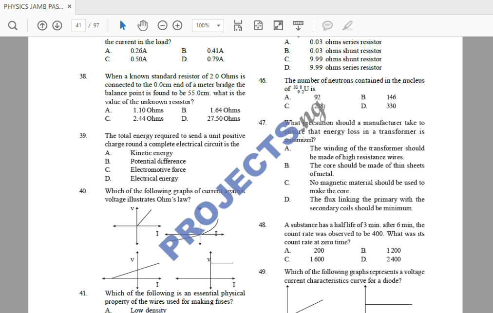 Physics JAMB Past Questions and Answers PDF