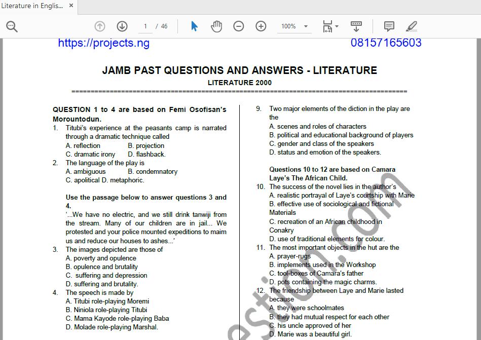 Economics Jamb Past Questions Pdf