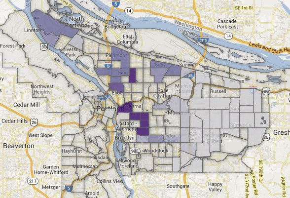 Interactive Map Portland Neighborhoods At Risk Of