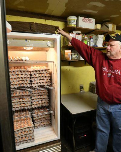 Brad Burnett shows the eggs that he brings to OU Jan. 28.