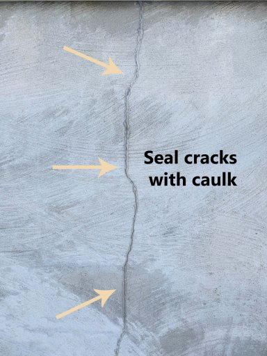 Diagram showing a crack in basement foundation in beige arrows sealed with caulk