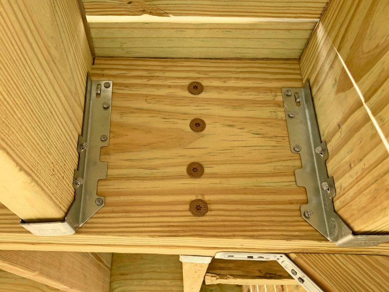 8 inch timber screws used to fasten joists to the playground
