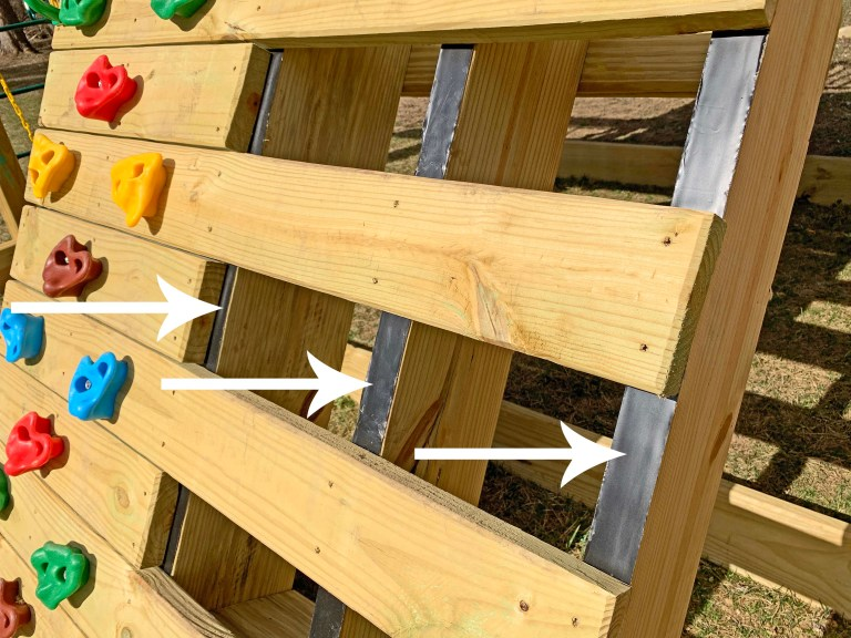 Joist flashing tape on the rock climbing wall and step ladder
