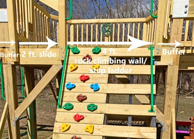 Dimensions of a rock climbing wall and step ladder on one side of a playground tower