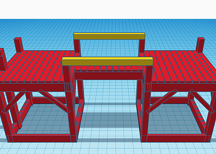 Additional swing beams highlighted in yellow on a playground