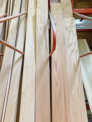 Wood boards stacked vertically