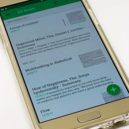 A smartphone with the Evernote app open