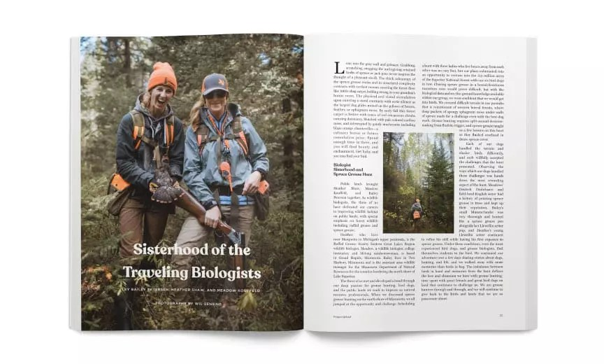 Wildlife biologists Heather Shaw and Bailey Petersen on a Spruce grouse hunt