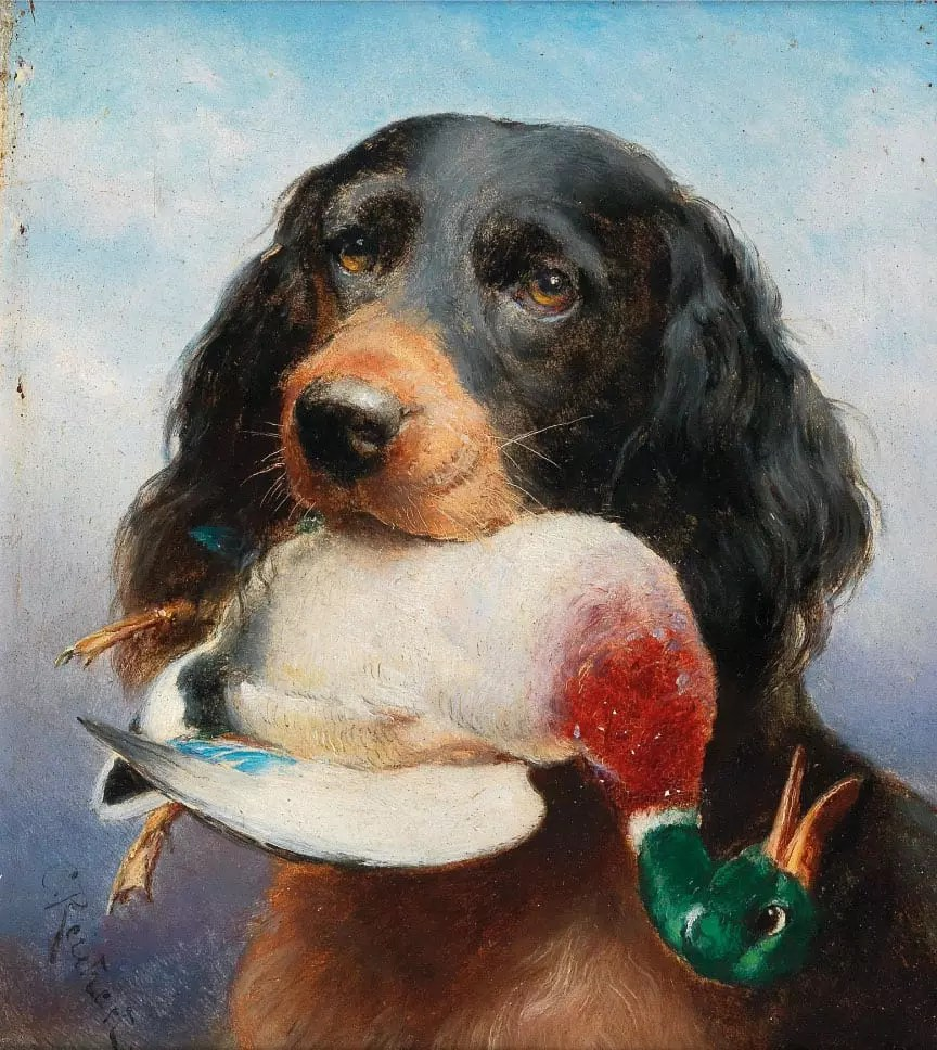 A painting by Carl Reichert of a Gordon Setter duck hunting