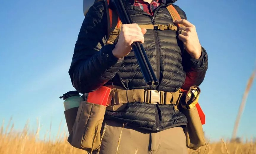 A wide view of the Hunt Redi upland strap vest,