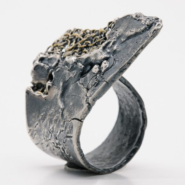 Massive silver and gold ring
